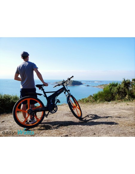VTT électrique batterie lithium orange